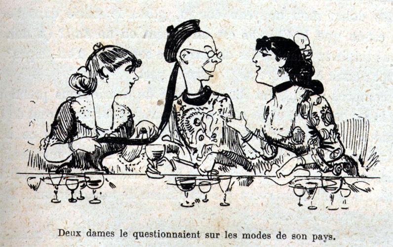 Dessin d'Albert Robida,  La grande mascarade parisienne. Une vie de Polichinelle, Librairie illustrée - Librairie Dreyfous, Paris, v.1880.