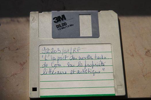 """Disquette du rapport """"L'impact des nouvelles technologies sur la propriété littéraire et artistique"""" (André Lange, André Lucas, Michel Vivant), IDATE, 1992."""