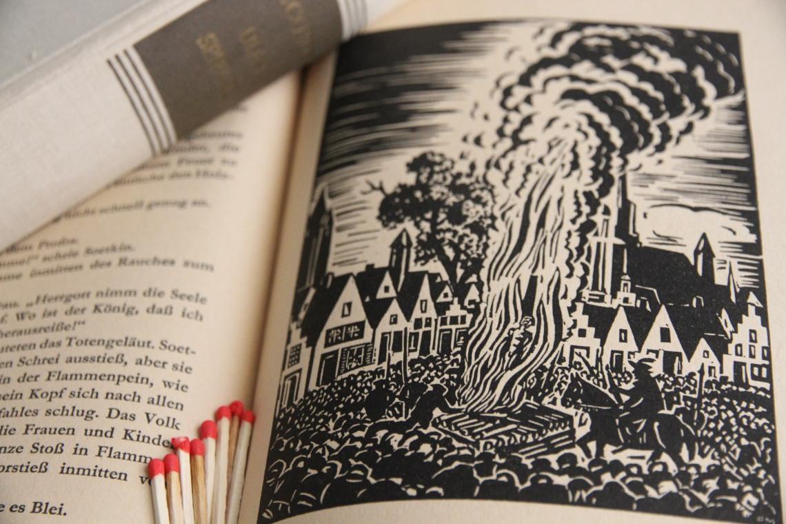 """Illustration de Franz Masereel pour l'édition allemande """"Die Geschchte von Ulenspiegel und Lamme Goedzak"""", Verlag Volk und Welt, Berlin, 1952."""