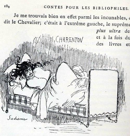 A. ROBIDA, Portrait imaginaire de Sade, in O. UZANNE et A. ROBIDA, Contes pour les bibliophiles, Librairies-réunies, Paris, 1895.