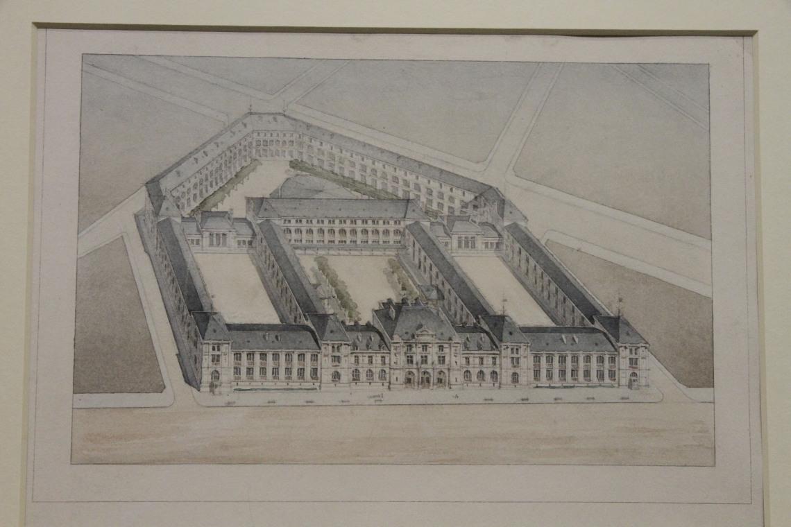 Eugène Train, Avant projet pour le lycée Voltaire (Paris XIe), vue à vol d'oiseau.