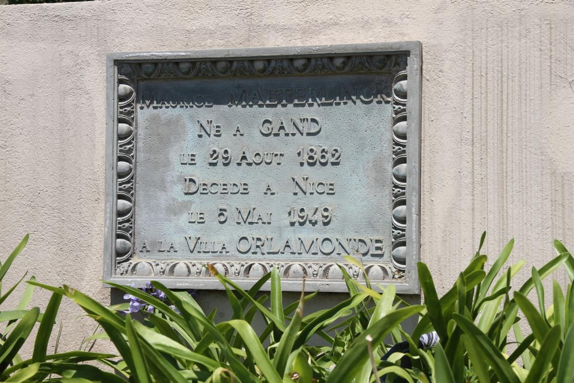 Plaque commémorative à la Villa Orlamonde (Nice, juin 2015).