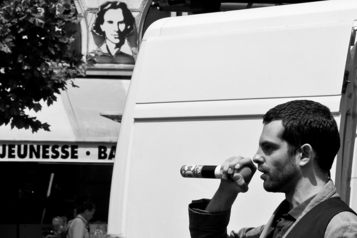 Remy Frey (CGT) à la manifestation du 16 juin 2015. Photo : André Lange-Médart