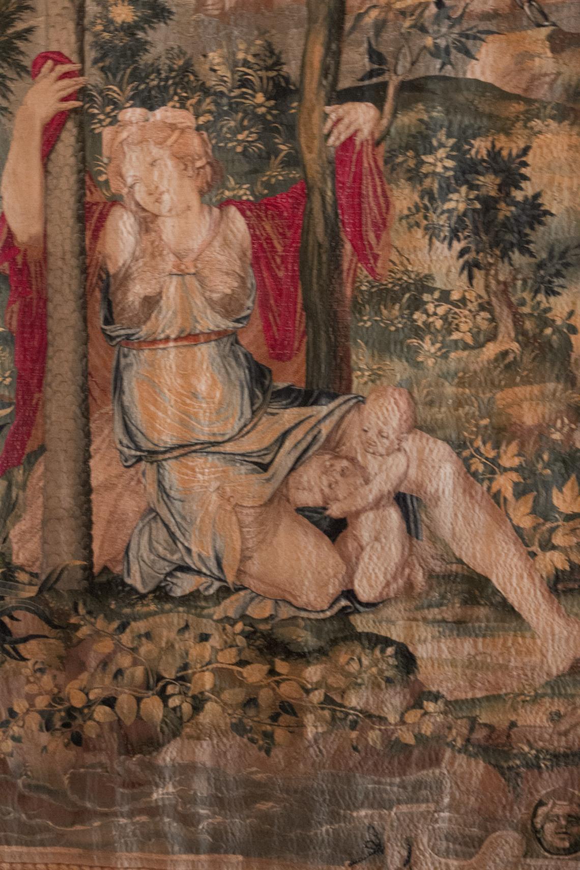 La naissance d'Apollon et de Diane, tapisserie.