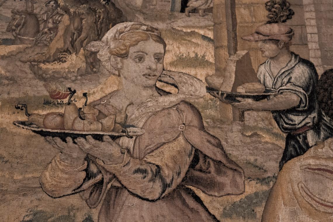 """""""Le dîner du Général"""" (détail), tapisserie de l'atelier de Jean Baudouin d'apès Giulio Romano, Bruxelles, 1546-1548."""