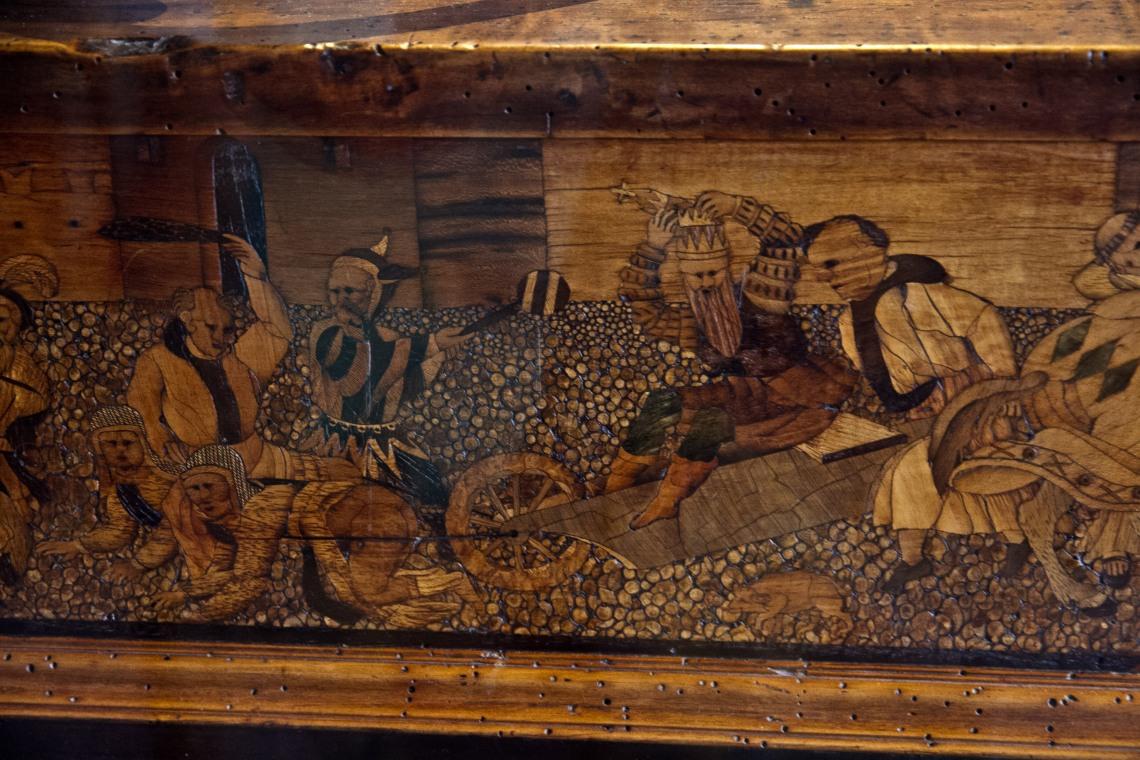 Banc d'orfèvre d'Auguste 1er de Saxe, Nuremberg, 1565. (Marqueterie, détail).