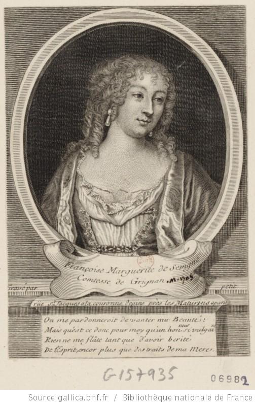 Portrait de Françoise Marguerite de Sévigné, comtesse de Grignan, en buste, de 3/4 dirigé à droite dans une bordure ovale : [estampe] Source : BNF Gallica